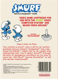 Box back cover for Smurf: Rescue in Gargamel's Castle on the Atari 2600.