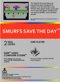 Box back cover for Smurfs Save the Day on the Atari 2600.