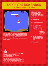 Box back cover for Snoopy and the Red Baron on the Atari 2600.