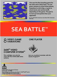 Box back cover for Space Battle on the Atari 2600.