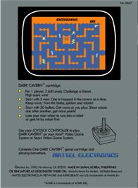 Box back cover for Space Cavern on the Atari 2600.