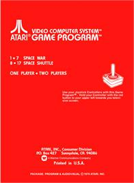 Box back cover for Space Instigators on the Atari 2600.