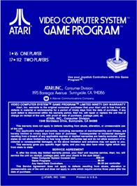 Box back cover for Space Invaders on the Atari 2600.