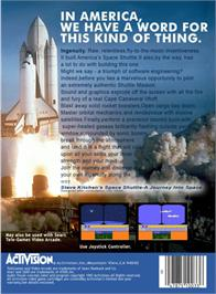 Box back cover for Space Shuttle: A Journey into Space on the Atari 2600.