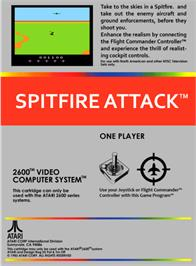 Box back cover for Spitfire Attack on the Atari 2600.