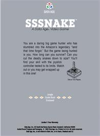 Box back cover for Sssnake on the Atari 2600.