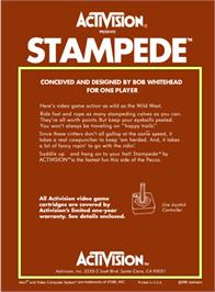 Box back cover for Stampede on the Atari 2600.