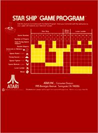 Box back cover for Star Ship on the Atari 2600.