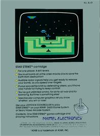 Box back cover for Star Strike on the Atari 2600.