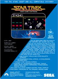 Box back cover for Star Trek: Strategic Operations Simulator on the Atari 2600.