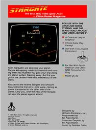 Box back cover for Stargate on the Atari 2600.