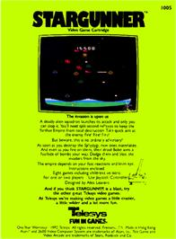 Box back cover for Stargunner on the Atari 2600.