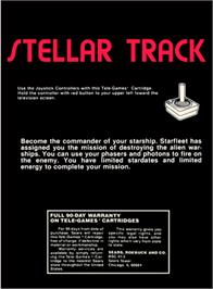 Box back cover for Stellar Track on the Atari 2600.