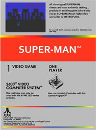 Box back cover for Superman on the Atari 2600.