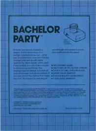 Box back cover for Swedish Erotica: Bachelor Party on the Atari 2600.