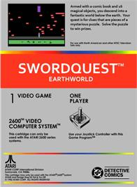 Box back cover for SwordQuest: EarthWorld on the Atari 2600.