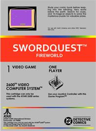 Box back cover for SwordQuest: FireWorld on the Atari 2600.