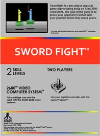 Box back cover for Swordfight on the Atari 2600.