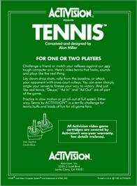 Box back cover for Tennis on the Atari 2600.