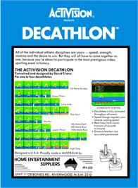 Box back cover for The Activision Decathlon on the Atari 2600.