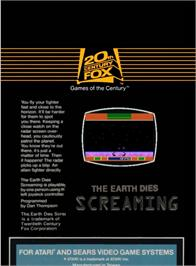 Box back cover for The Earth Dies Screaming on the Atari 2600.