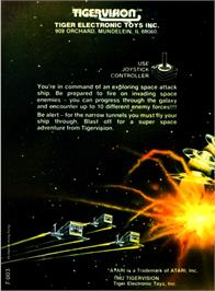 Box back cover for Threshold on the Atari 2600.