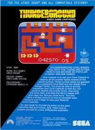 Box back cover for Thunderground on the Atari 2600.