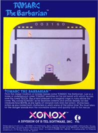 Box back cover for Tomarc the Barbarian on the Atari 2600.