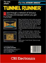 Box back cover for Tunnel Runner on the Atari 2600.