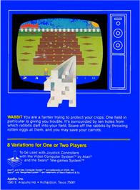 Box back cover for Wabbit on the Atari 2600.