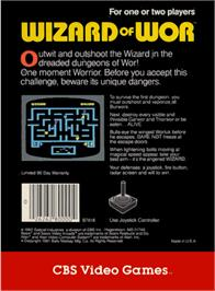 Box back cover for Wizard of Wor on the Atari 2600.