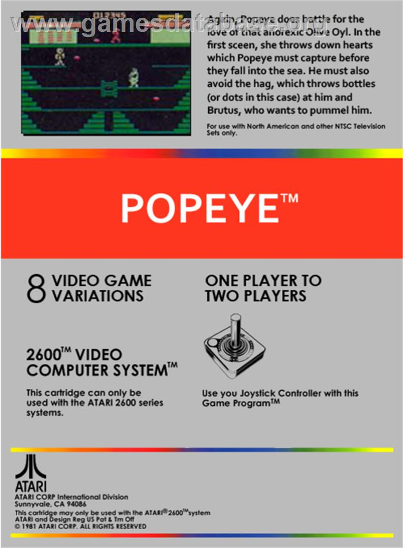 Popeye - Atari 2600 - Artwork - Box Back