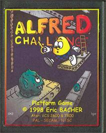 Cartridge artwork for Alfred Challenge on the Atari 2600.