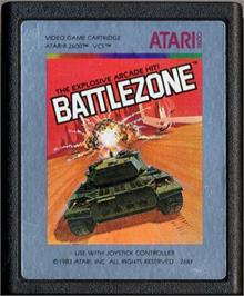 Cartridge artwork for Battlezone on the Atari 2600.
