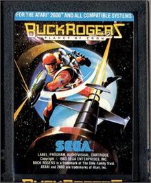 Cartridge artwork for Buck Rogers: Planet of Zoom on the Atari 2600.