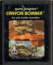 Cartridge artwork for Canyon Bomber on the Atari 2600.