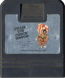 Cartridge artwork for Chase the Chuck Wagon on the Atari 2600.