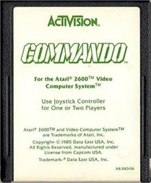 Cartridge artwork for Commando on the Atari 2600.