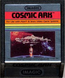 Cartridge artwork for Cosmic Ark on the Atari 2600.