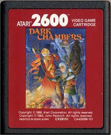 Cartridge artwork for Dark Chambers on the Atari 2600.