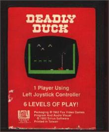 Cartridge artwork for Deadly Duck on the Atari 2600.