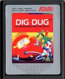 Cartridge artwork for Dig Dug on the Atari 2600.