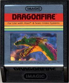 Cartridge artwork for Dragonfire on the Atari 2600.