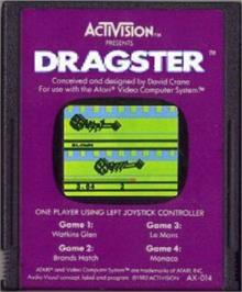 Cartridge artwork for Dragster on the Atari 2600.
