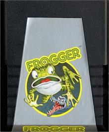 Cartridge artwork for Frogger on the Atari 2600.