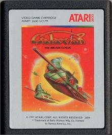 Cartridge artwork for Galaxian on the Atari 2600.