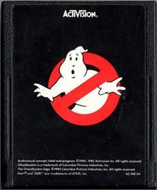 Cartridge artwork for Ghostbusters on the Atari 2600.