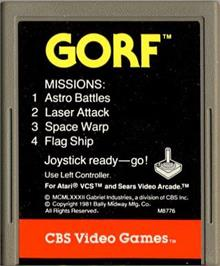 Cartridge artwork for Gorf on the Atari 2600.