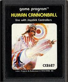 Cartridge artwork for Human Cannonball on the Atari 2600.