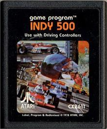 Cartridge artwork for Indy 500 on the Atari 2600.